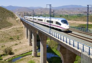 train running on a viaduct in Arandiga, Saragossa, Aragon, Spain